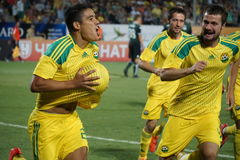 le joueur du fc Kuban Lorenzo Melgarejo et les associés célèbrent le but marqués Image libre de droits