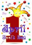 Le jour d'April Fool de carte postale le 1er avril - Numéro un dans le chapeau de farceur illustration libre de droits
