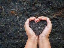 Le jour d'Eart, sauvent la terre, concept d'amour la main de femme tenant a Photographie stock