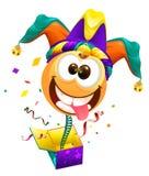 Le jour d'imbéciles d'avril Le sourire de chapeau d'imbéciles le ressort vole hors de la boîte Plaisanterie d'April Fools illustration de vecteur