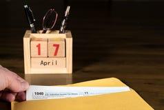 Le jour d'impôts pour 2017 retours est le 17 avril 2018 Photo libre de droits