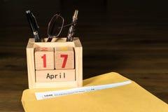Le jour d'impôts pour 2017 retours est le 17 avril 2018 Photographie stock libre de droits