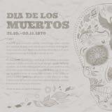 Le jour de Dia de Muertos Tattoo Skull Ornate d'affiche de vintage des morts a endommagé le papier Images stock