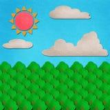 Le jour de forêt et de ciel calent l'aquarelle sur le papier Images libres de droits
