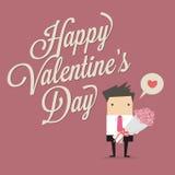 Le jour de Happy Valentine d'homme d'affaires Photos stock