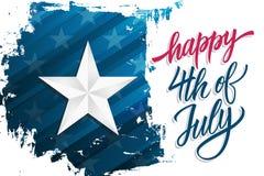 Le Jour de la Déclaration d'Indépendance heureux célèbrent la bannière avec l'étoile argentée sur le texte de lettrage de fond et illustration libre de droits
