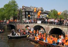 Le jour de la Reine à Amsterdam, 30ème d'avril tous les ans Photos libres de droits