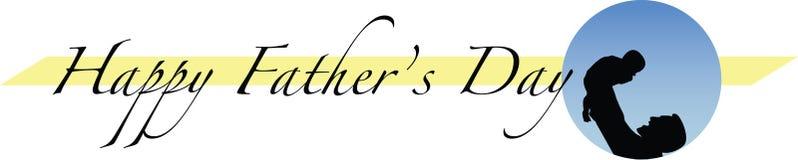 Le jour de père heureux avec la conception horizontale de silhouette Photographie stock libre de droits