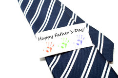 Le jour de père heureux avec la main colorée imprime l'étiquette Image libre de droits