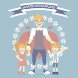 le jour de père heureux avec le papa et le garçon et la fille, fleur, coeur, bannière de ruban, carte de voeux bleue de fond de c illustration stock
