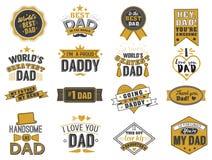 Le jour de pères heureux d'isolement cite sur le fond blanc Or de félicitation de papa et label noir, vecteur d'insigne illustration stock