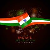 Le jour de République du ` s d'Inde avec le vecteur de drapeau et de feu d'artifice d'Inde de ruban conçoivent Image stock