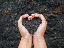 Le jour de terre, sauvent la terre, concept d'amour la main de femme tenant a Image libre de droits