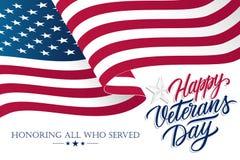 Le jour de vétérans des Etats-Unis célèbrent la bannière avec onduler le drapeau national américain et remettent à texte de lettr illustration stock