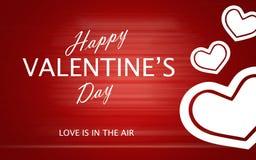 Le jour de valentine heureux avec des coeurs d'amour sur le fond rouge Photos libres de droits