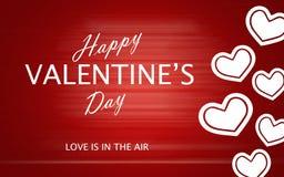 Le jour de valentine heureux avec des coeurs d'amour sur le fond rouge Photo stock