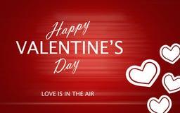 Le jour de valentine heureux avec des coeurs d'amour sur le fond rouge Images stock