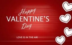 Le jour de valentine heureux avec des coeurs d'amour sur le fond rouge Photo libre de droits