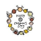 Le jour des enfants heureux de vacances internationales Calibre rond de logo illustration libre de droits
