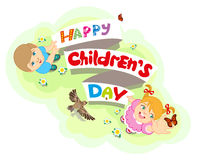 Le jour des enfants heureux Garçon et fille Texte de lettrage pour la carte de voeux Images libres de droits