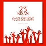 Le jour des enfants nationaux de drapeau de bannière turque de thème dans les mains des enfants de la Turquie avec un mois et une illustration stock