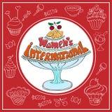 Le jour des femmes internationales de carte rouge Image stock