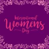 Le jour des femmes internationales impressionnantes handlettering avec le fond illustration de vecteur