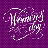 Le jour des femmes internationales impressionnantes handlettering avec le fond de point illustration libre de droits