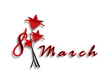Le jour des femmes internationales le 8 mars. Date avec des lettres avec les fleurs rouges. Image libre de droits