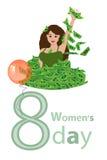 Le jour des femmes s est un chiffre-huit fille dans une pile d'argent illustration de vecteur
