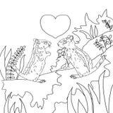 Le jour du ` s de Valentine, deux est enamouré des tamia, coloration, dessin noir et blanc Photographie stock libre de droits
