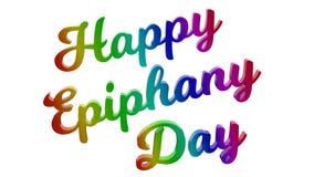 Le jour heureux 3D calligraphique d'épiphanie a rendu l'illustration des textes colorée avec le gradient d'arc-en-ciel de RVB illustration stock