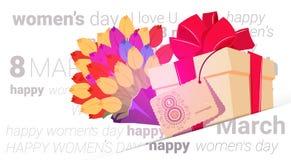 Le jour heureux de femmes présente le fond avec de beaux fleurs et boîte-cadeau salutation design de carte concept de vacances du Images libres de droits