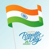 Le jour heureux de République d'Inde, le 26 janvier carte de voeux avec onduler le texte indien de lettrage de drapeau national e illustration de vecteur