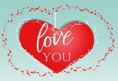 Le jour heureux de Valentine Carte d'amour Je t'aime sur un coeur rouge photo libre de droits