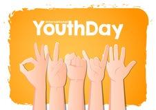 Le jour international de la jeunesse de vecteur d'actions, remet le 12 août sur le fond orange illustration stock