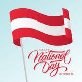 Le jour national heureux de l'Autriche, le 26 octobre carte de voeux avec onduler le texte autrichien de lettrage de drapeau nati illustration de vecteur