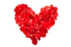 Le jour rouge de Valentine de pétales de roses Photo libre de droits