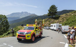 Le Journal de Mickey Vehicle. Col D'Aspin,France- July 15,2015: Le Journal de Mickey vehicle during the passing of the Publicity Caravan on Col D'Aspin in royalty free stock photos