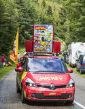 Le Journal du Mickey Car. Col de Platzerwasel, France - July 14, 2014:Image of the car advertising the magazine Le Journal du Mickey during the passing of the stock photo