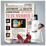 Le journal esthétique et de beauté présentent avec du cosmétique Photo stock