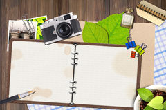 Le journal intime de photo wallpapers sur le plancher - synthèse graphique Photos stock