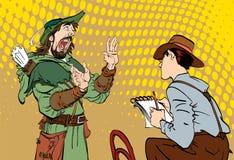 Le journaliste écrit le texte Journaliste interviewant Robin Hood Robin Hood disant des fables Rétro journaliste Photo stock
