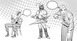 Le journaliste écrit le texte Journaliste interviewant Robin Hood Rétro journaliste Images libres de droits