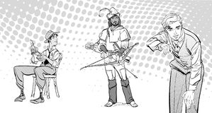 Le journaliste écrit le texte Journaliste interviewant Robin Hood Rétro journaliste Image libre de droits