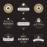 Le joyeux anniversaire Badges et marque l'ensemble d'éléments de conception de vecteur Photos stock
