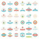 Le joyeux anniversaire Badges et marque l'ensemble d'éléments de conception de vecteur Photo stock