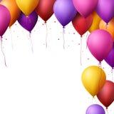 Le joyeux anniversaire coloré monte en ballon le vol pour la partie et les célébrations Images stock