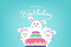 Le joyeux anniversaire et les Joyeuses Pâques, lapin mignon avec le grand gâteau, confettis célèbrent la partie, style de Kawaii, illustration stock