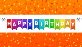 Le joyeux anniversaire marque la bannière Fond orange de confettis Vecteur Eps10 illustration de vecteur